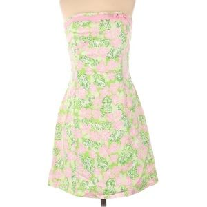 Lilly Pulitzer Floral&Tiger Print Strapless Dress